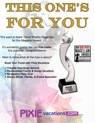 Honoring the best in the travel industry, Pixie Vacations® is honored to receive the Silver Travel Weekly Magellan A…