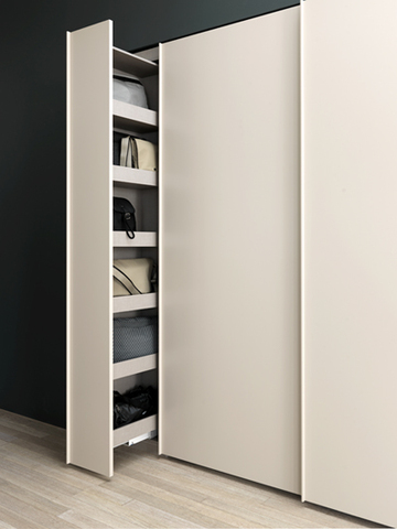 Sliding handbag storage for wardrobe