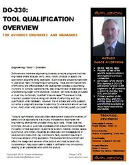 Free DO-330 Avionics Tool Qualification Whitepaper, from Vance Hilderman, Afuzion Inc.