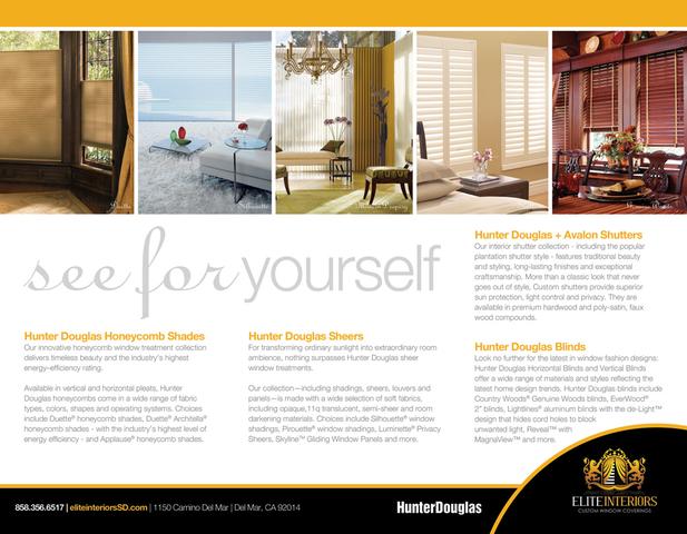 Elite Interiors San Diego Hunter Douglas Showroom Brochure