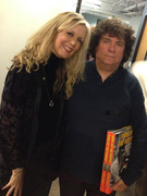 """DJ Cynthia Fox and author Harvey Kubernik at THE SOUND LA 100.3 FM debut """"Backstagers"""" Holiday Party, 11 December, 2014  (Photo by Elliot Kendall)"""