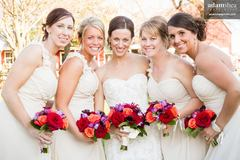Brides being happy during reception at Homestead Meadows in Neenah, WI.