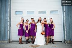 Bridesmaids at an industrial location near Oshkosh, Wisconsin.