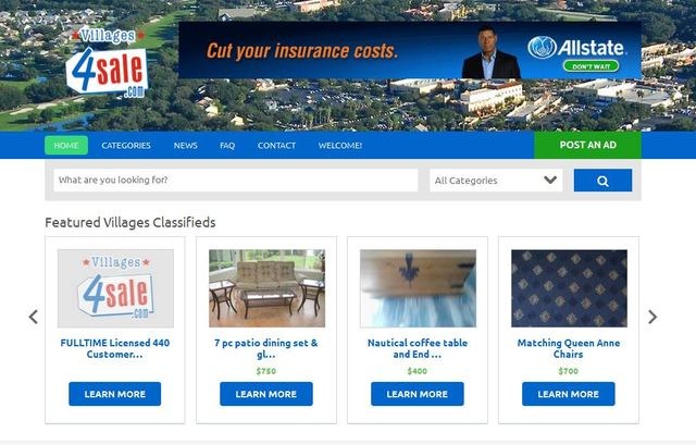 Villages4sale offers free local listings for home resales, furniture, golf carts and more.