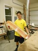 Michael Wu celebrates his new board design.