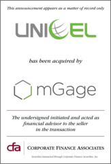 Corporate Finance Associates Advises Unicel Technologies in its Acquisition by mGage