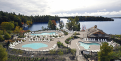Outdoor swimming pools at JW Marriott The Rosseau Muskoka Resort & Spa in Muskoka, Ontario, Canada.