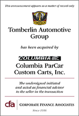 CFA Advises Tomberlin Automotive Group, Inc. in Sale to Columbia ParCar Custom Carts, Inc.