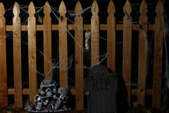 """Don't look now!...We're not alone!"" A face in the fence at ""The Haunted Forest of Bavaria"" at The Adventure Park at Frankenmuth, MI. (Photo: Outdoor Ventures)"