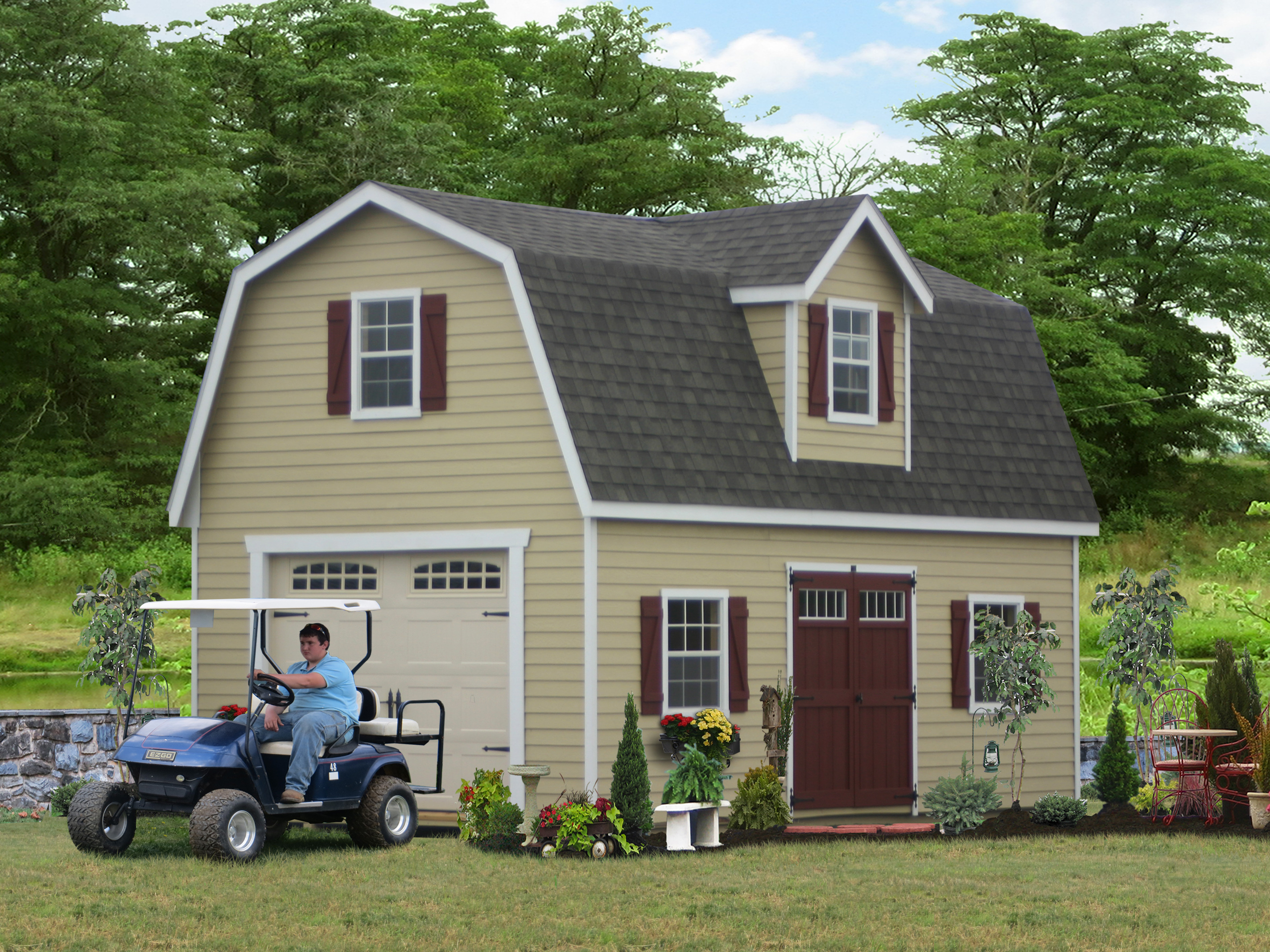 amish white garage ny company garages on with site dormers barn oneonta custom car built in