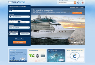 Easily book cruises online on the CruiseWise website.