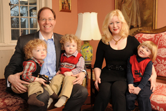 Congressional candidate, former federal prosecutor Julian Schreibman at home in Stone Ridge, Ulster County, NY, with his wife, Shannon, and their three boys.