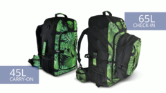 Choose from two sizes. The 45 Litre Carry-on, or the 65 Litre Pack with a 15 Litre zip on daypack (total 80L)
