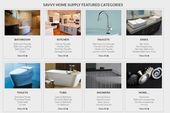 Savvy Home Supply's digital showroom features a variety of product categories for a fine kitchen and luxury bathroom remodel.