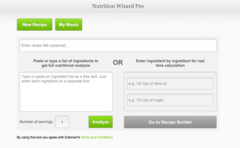 Edamam's Nutrition Wizard Pro home screen.