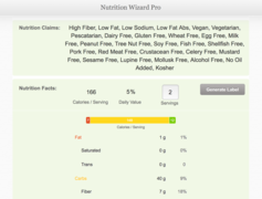 Nutrition results produced by Edamam's Nutrition Wizard Pro.