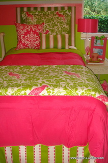 Designer Pink and Green Dorm Bedding