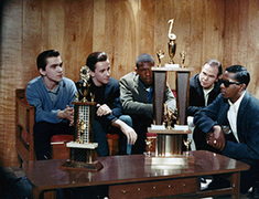 1966:  Five of the six Montclairs, winners of the Jaycees Battle of the Bands, contemplate their future.
