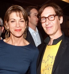 Wendie Malick, left, and Stan Zimmerman, right, at a benefit for Celebration Theatre, LA, April, 2014<br />