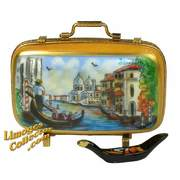 Venice Travel Suitcase with Gondola Limoges box at LimogesCollector.com
