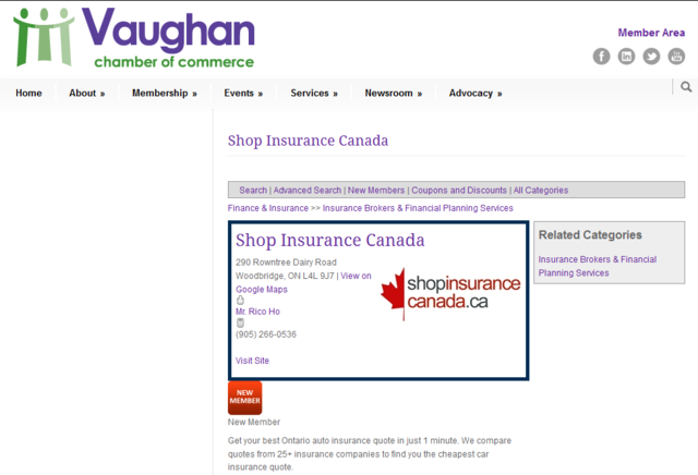Shop Insurance Canada has joined the Vaughan Chamber of Commerce. The online insurance expert and host of a leading online quote engine...