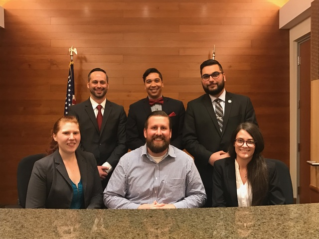 Top row, left to right: Travis Strachota (3L), Jason Garchie (3L), Andrei-Vladimir Dumitrescu (3L).  Bottom row, left to right: Kelsey Kuberka (3L), Prof. Jesse Allen, Kally Mullett (3L)