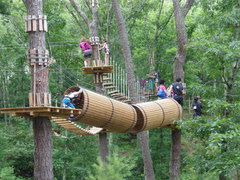 """The Adventure Park is much more than just zip lines. Here climbers navigate a series of different treetop """"crossings"""" having fun as they learn their way. (Photo: Outdoor Ventures)"""