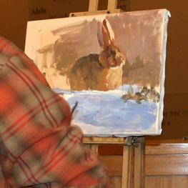 A work in progress at the Plein Air Festival at the National Museum of Wildlife Art in Jackson Hole, Wyo., where more than 40 artists create artworks as crowd watches.