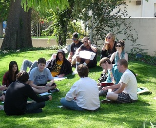 Sometimes Joe teaches his creative writing class outside.