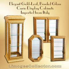 Italian Gold-Leaf Beveled Glass Curio Display Cabinets Arrive At LimogesCollector.com