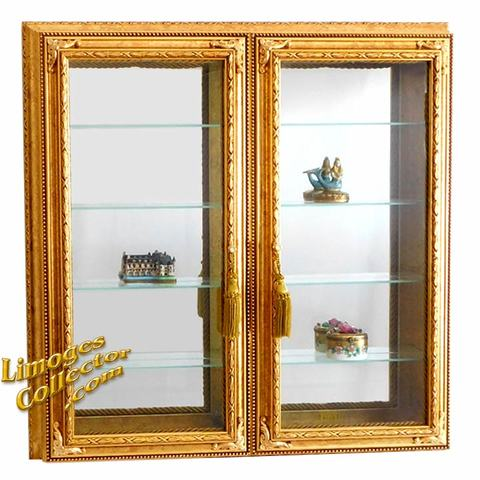 Italian Gold Leaf Beveled Glass Curio Display Cabinets