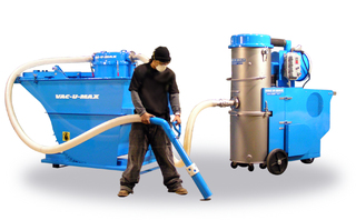 VAC-U-MAX new 1050 continuous duty industrial vacuum cleaner with 2 cubic yard self dumping hopper.