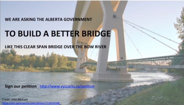 We are asking the Alberta Government to Build a Better Bridge over the Elbow River Valley like this clear span bridge on Stoney Trail over the Bow River