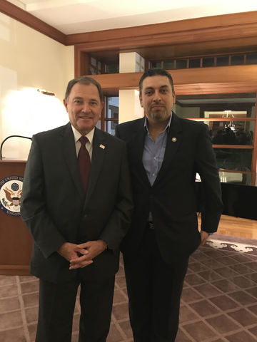 Governor Gary Herbert and V.B. Balrai Singh after announcement of Mr. Singh's appointment as Trade and Investment Representative to the State of Utah for the Asian Region.