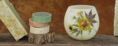 Splendid Bee products include natural handmade bars of soap, soap filled luffas, beeswax luminaries and accessories.