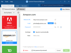 Manage your many website account passwords and other sensitive data while also keeping your data organized and accessible.