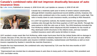 Auto insurance lines inhibit drastic improvement in Canada's combined ratio