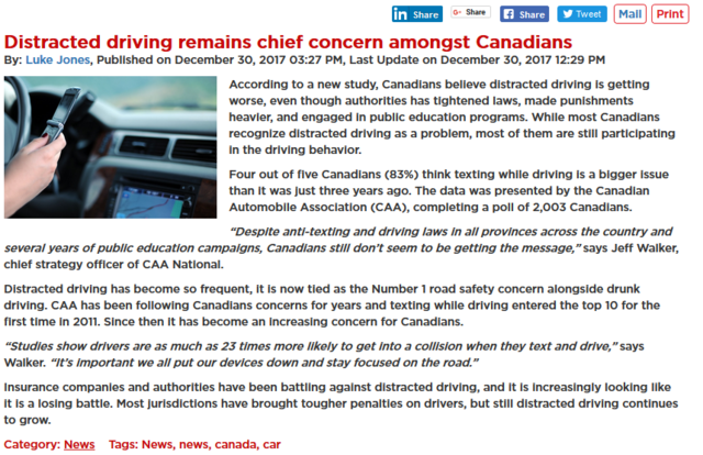 Shop Insurance Canada says; according to a new study, Canadians believe distracted driving is getting worse, even though authorities has tightened laws, made punishments heavier...