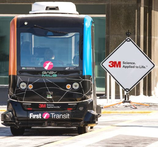 EasyMile's shared autonomous vehicle (SAV) at 3M Global Headquarters on February 20, 2018.