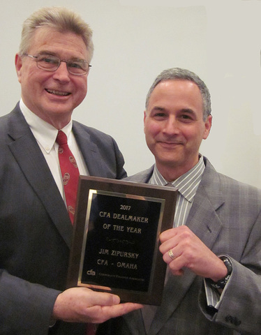 Jim Zipursky was honored as CFA&#039;s Dealmaker of the Year.<br />