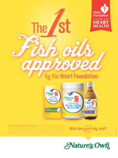 Nature's Own fish oils, approved by the Australian National Heart Foundation