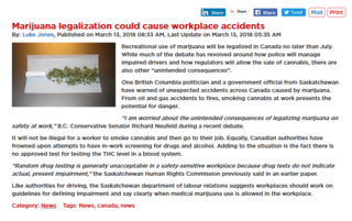 Marijuana legalization may cause workplace accidents