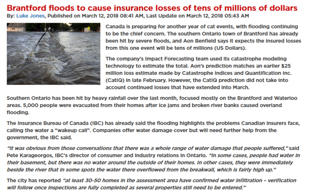 Aon Benfield says it expects the insured losses from Brantford floods to be in tens of millions of dollars.