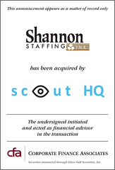 Shannon Staffing, Inc. Is Acquired by Scout HQ, Inc.