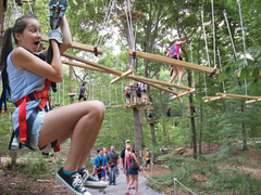 More than just zip lines - The Adventure Park at Nashville is a fun combination experience of zip lines and challenge bridges between tree platforms.