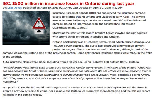 According to the Insurance Bureau of Canada (IBC), the insurance damage caused by storms that hit Ontario and Quebec in early April