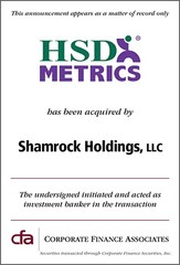 Corporate Finance Associates Advises HSD Metrics in Its Acquisition by Shamrock Holdings, LLC