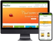 MegaFood homepage along with their vitamins & supplements catagory page on a mobile device.