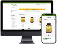 MegaFood's vitamins & supplements catagory page along with a product detail page on a mobile device.