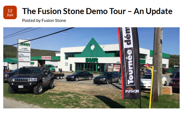 2017 was the inaugural year for the Fusion Stone Demo Tour. It was such a success in Ontario that the company extended the reach of the tour in 2018 to include Quebec during May and June.